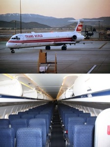 Top: TWA MD-80 Bottom: MD-80 Cabin
