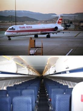 Top: TWA MD-80 Bottom: MD-80 Cabin